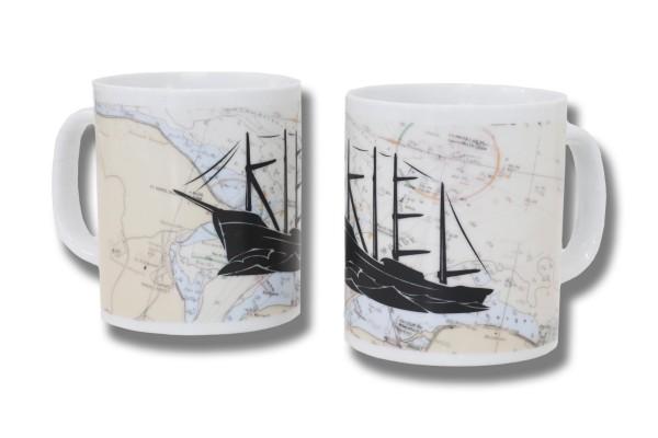 Kaffee Becher Kielschiff Seekarte